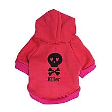Halloween Fleece Black Skeleton Pet dog Puppy Clothes with Hood Sweater Coat -Hot PInk