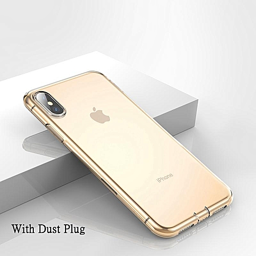 detailing 97714 a59ab Baseus Ultra Thin Transparent Case For IPhone Xs Max Luxury Soft Silicone  Back Cover With Dust Plug (6.5 Inch) (Gold) FCJMALL