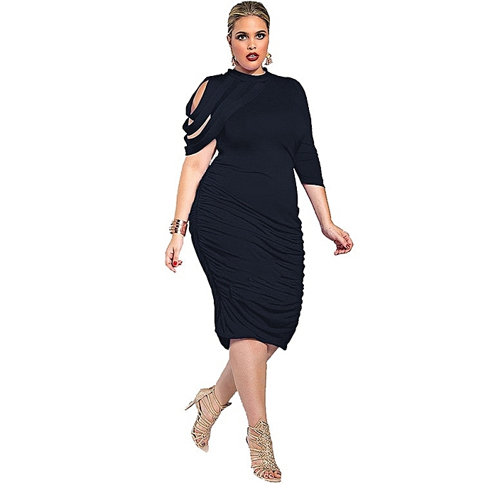 Women Plus Size Midi Bodycon Dress Turleneck One Three Quarter Sleeves High Waist Wrap Party