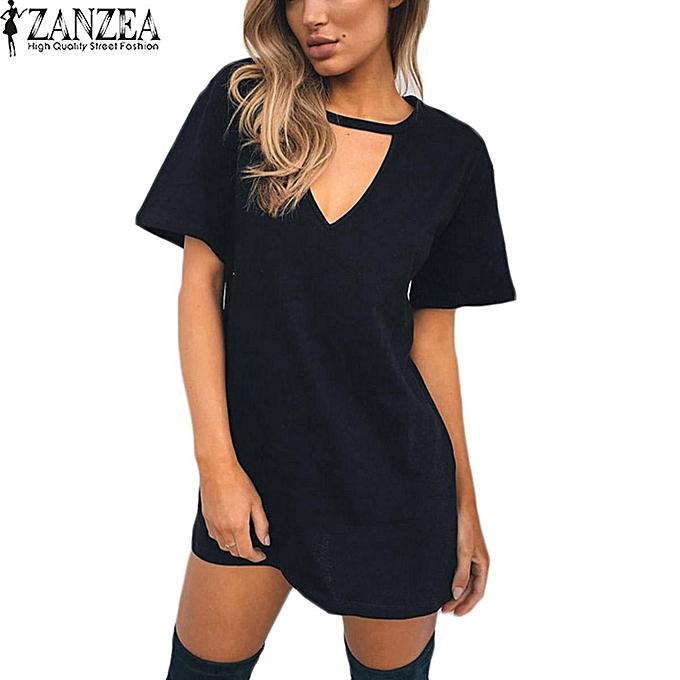 d3591f180f01b7 ZANZEA Ladies T-Shirt Dress Choker Deep V Club Party Tunics Mini Dress Plus