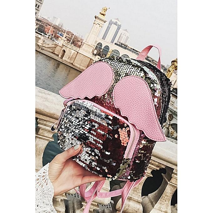BlackLittle girl bag 2018 stars together style lovely wing backpack female  paillette little shoulder bag Han 422087c2e21d3