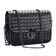 bluerdream-Girl Leather Mini Small Woven Pattern Shoulder Bag Handbag Messenger -Black