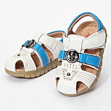 Summer Baby Boy Soft Sole Outsole Male Infant Toddler Sandals Leather Shoes WHITE-EU