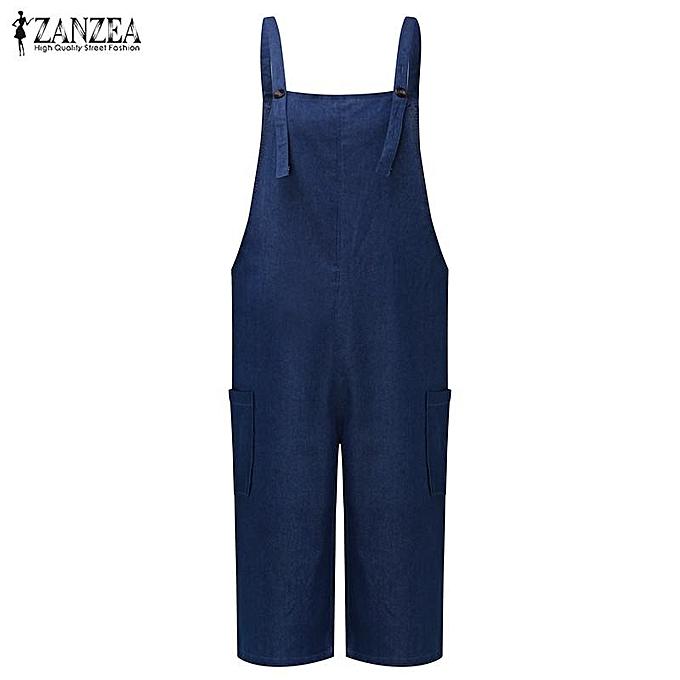 235b824d777 ZANZEA ZANZEA Rompers Womens Jumpsuit Summer Autumn Sleeveless Fashion Wide  Leg Pants Denim Calf Length Vintage Overalls S-5XL