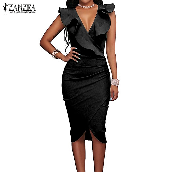 e0e6629be3 ZANZEA Women Deep V Sleeveless Pencil Bodycon Party Evening Midi Dress Black