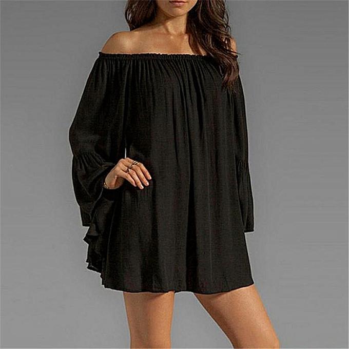 1a4b72877f8 ... ZANZEA Plus Size Women Sexy Off Shoulder Dress Boho Summer Short Mini  Dresses Loose Long Flare ...