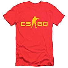 Men Counter Strike CS GO Short Sleeve T-shirts -Red&Yellow