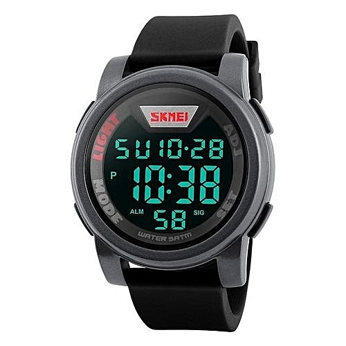 1218 Men Military Sports Watches Multifunction Fashion Silicone Waterproof  LED Digital Watch - Grey