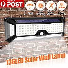 136LED Solar Light PIR Motion Sensor Wall Lamp 3 Modes Dimmable Light of 4 Sides