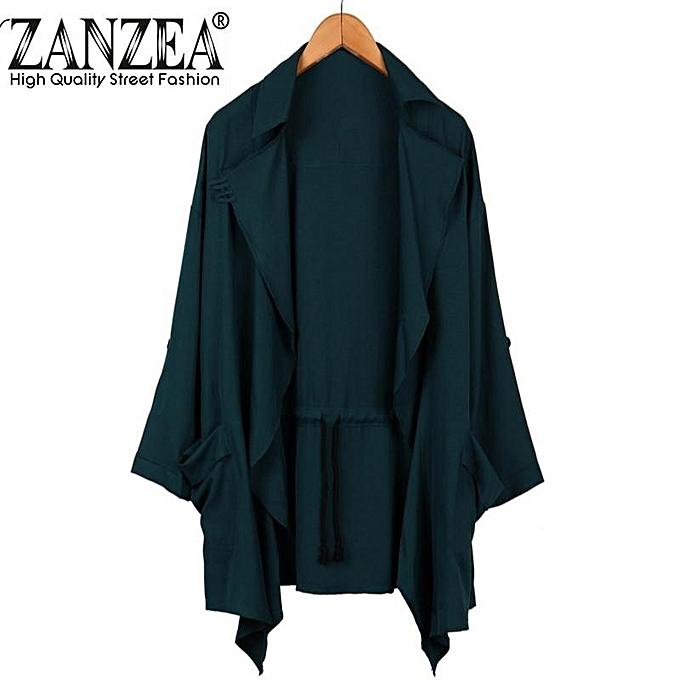 8a644ddea89 ZANZEA PLUS SIZE Womens Lapel Slim Long Chiffon Parka Cardigan Jacket  Trench Coat New Dark Green