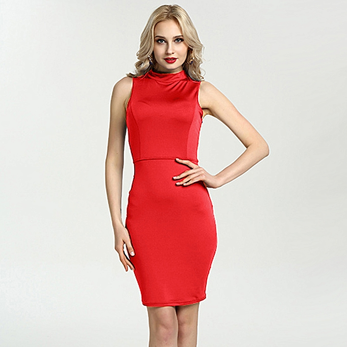 725204d4cb2 Women Pencil Dress Solid High Neck Sleeveless Cut Out Back Midi Bandage  Bodycon Sexy Club Party
