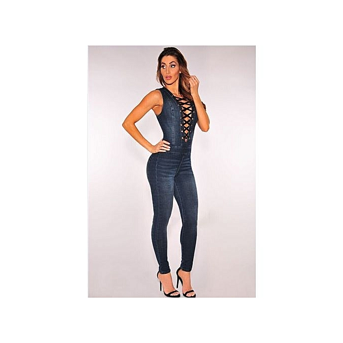 40496690c474 ... Hot Sale New Style Denim Rompers Overalls Women Skinny Jeans Sexy Blue  Lace-up V ...