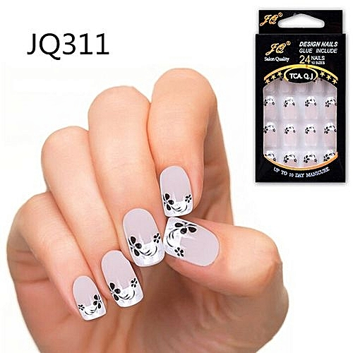 24pcs False Nails French Fake Nails For Nail Art Design Nail Tips JQ311 - Buy Generic 24pcs False Nails French Fake Nails For Nail Art Design