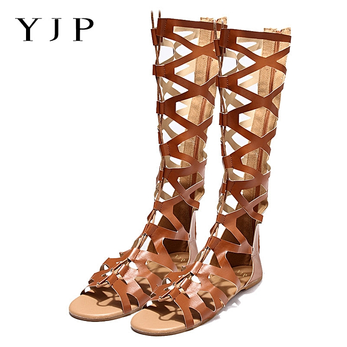 f73a66be3 Fashion Women s Knee High Lace Up Leg Wrap Strappy Flat Sandals ...