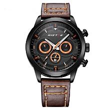 93010 Man Luminous Sport Military Waterproof Wrist Watches Leather Strap Fashion Business Analog Quartz Men Watch - Orange