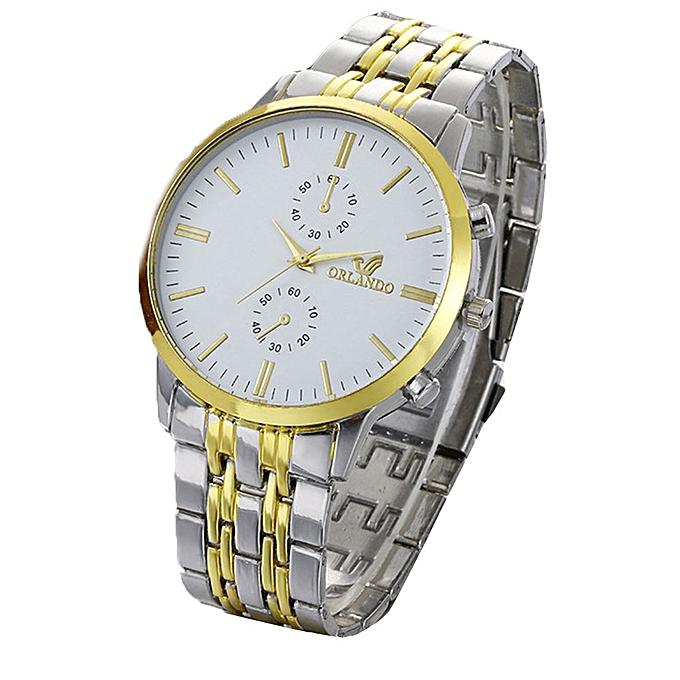 ORLANDO Africashop Watch Mens Fashion Luxury Business Stainless Steel  Analog Quartz Vogue Watches-Gold