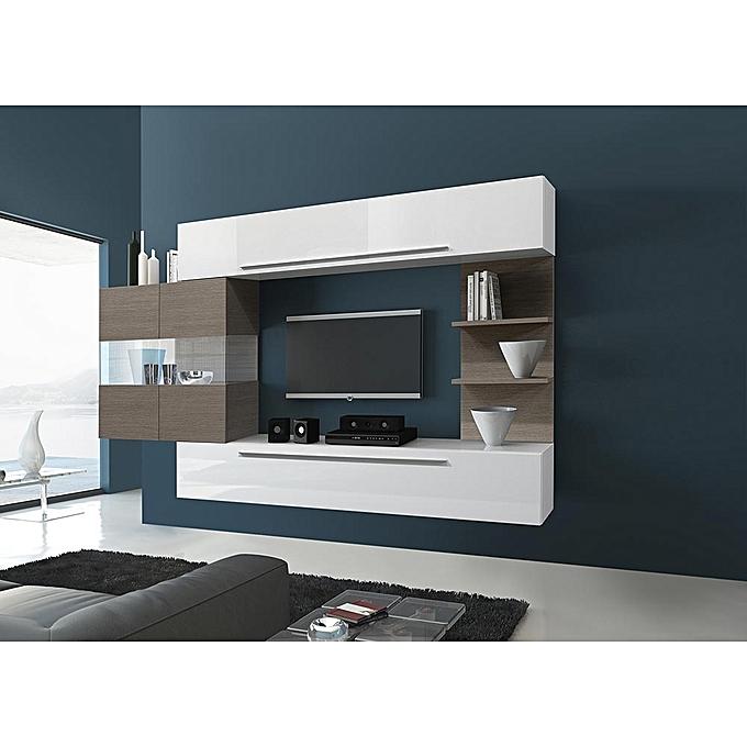Roman Design White Tv Stand Set With Safari Led Wood