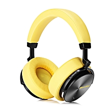 Bluedio T5 Active Noise Cancelling Wireless Bluetooth Headphone Portable Headset with Microphone - YELLOW