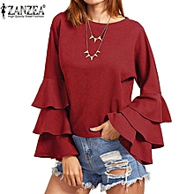 ZANZEA S-5XL Womens Spring Fall Solid Bell Long Sleeve Blusas Femininos Ladies Loose Butterfly Fluncing Ruffle Blouses Shirt (Wine Red)
