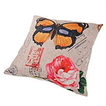 Unisex Butterflies And Flowers Square Linen Pillow - White