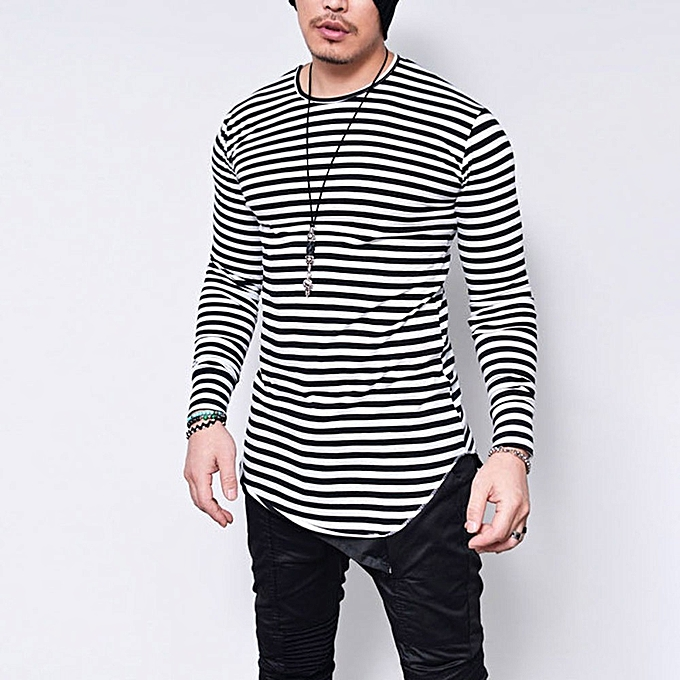 be65b4d14c whiskyky store Men Striped T-Shirt Long Sleeve High Elastic Casual  Streetwear Male Slim Blouse