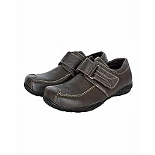 Dark/ Coffee Closed Shoes With Velcro Straps And A Buckle