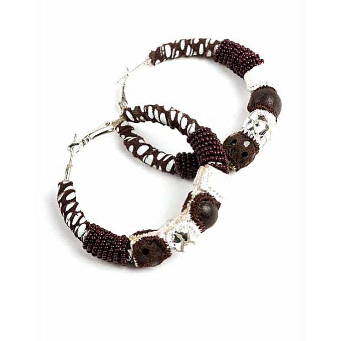 Chocolate Brown White Lara Hoop Earrings