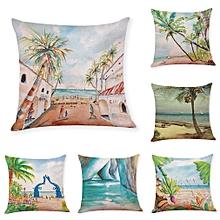 Honana 45x45cm Home Decoration Colorful Beach Patterns Cotton Linen Pillow Case Sofa Cushion Cover