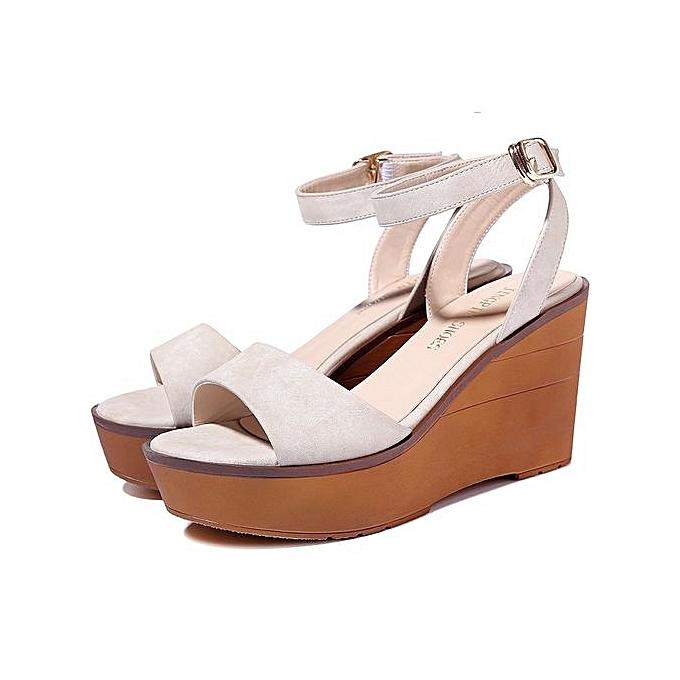 8bf157dd6f9432 Design Womens Wedge Sandals Green Beige 9CM Ladies Platform High Heels  Sandals Fashion Summer Shoes 097