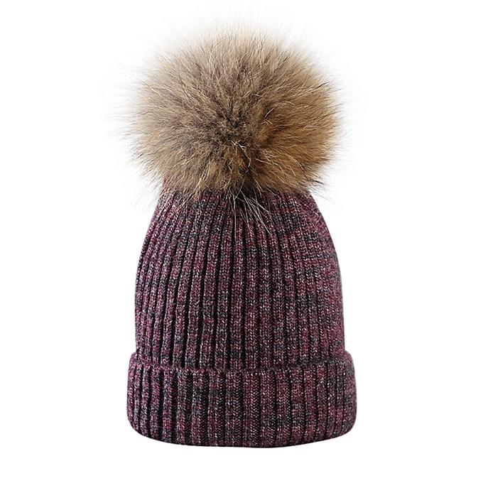 Fur Ball Cap Winter Hat Women Girls Hat Knitted Beanies Cap Thick Female  Cap D 127b10dc0fe