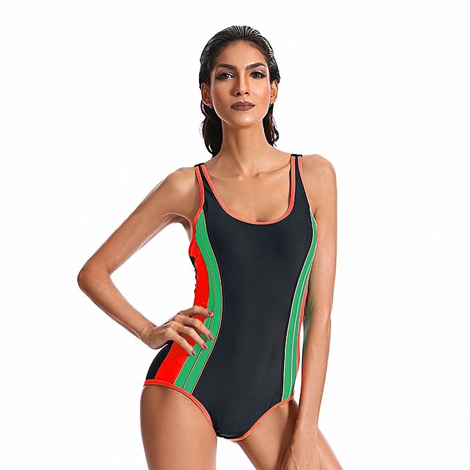9770730b75 Women One Piece Swimwear Padded Patchwork Swimsuit Backless Bathing Suit  Sports Bodysuits Swim Wear Beachwear ...