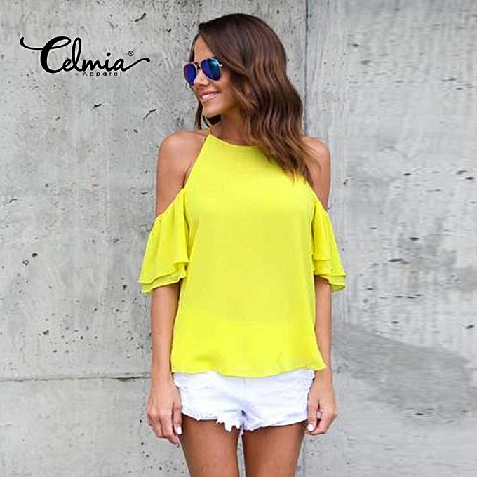 Fashion Celmia Womens Ladies Casual Off Shoulder Short Sleeve Plain Chiffon  Loose Shirt Tops Blouse Yellow a1c3e2c14b04