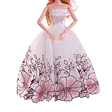 1PC Pure  Wedding Dress For Barbie Doll Evening Party Clothes For Barbie Dolls C