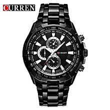 Watches, 8023 Luxury stainless steel Watch Men Business Casual quartz Watches waterproof - Black