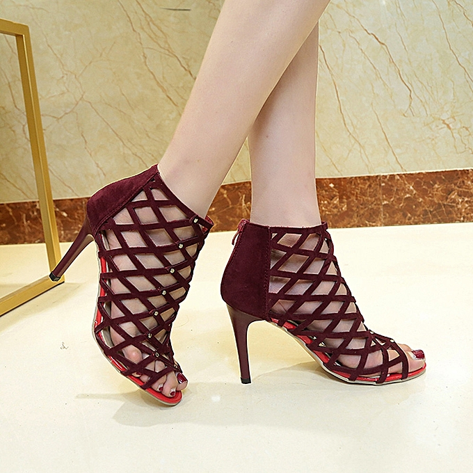 6bba4c0258a Fashion huskspo Women s Fashion Peep Toe High Heels Shoes Rivet Roman Gladiator  Sandals