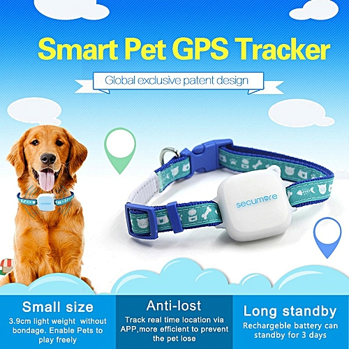 Mini Personal Dog Cat Collar Pet ID Locator GPS Tracker GSM Tracking  Waterproof Blue
