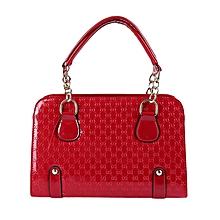 Ladies Plaid Rivet Tote Shoulder Bag - Red