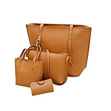Africanmall store 4Pcs Women Pattern Leather Shoulder Bag+Crossbody Bag+Handbag+Wallet Brown-Brown