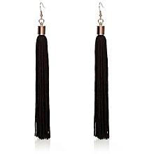 Bohemian Earrings Women Long Tassel Fringe Dangle Earrings - Black