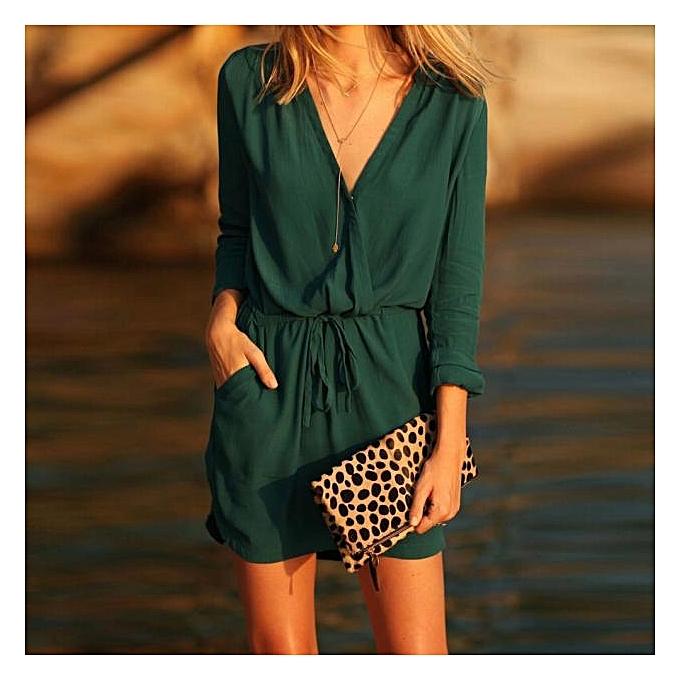 4edd4289596f Xiuxingzi Women V Neck Green Long Sleeve Party Dress Evening Casual Summer  Mini Dress