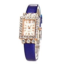 Women Quartz Watch Rectangel Design Leather Band Analog Alloy Wrist Watch BU-Blue