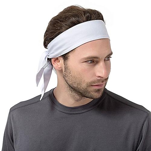 Unisex Sweat Wicking Stretchy Exercise Yoga Gym Bandana Headband Sweatband  Head Tie Scarf Wrap, Size: 1 2*0 06m (White)