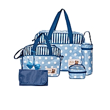 5 Piece Multifunctional Diaper Bag -Blue & White .