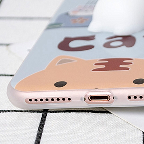 Calico Cat with Several Cats for iPhone6Plus/6SPlus Case Cute 3D Squishy  Silicon TPU Shell Squeeze Stress Relieve Toys Mobliephone Back Cover