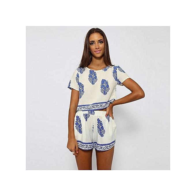 97b909a576a13a Grace Women Casual Print O-Neck Short Sleeve Crop Tops Elastic Waist Shorts  Two Piece ...