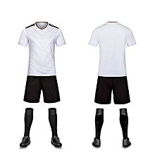 White-High Quality Children Boy And Men's Football Soccer Team Training Sports Shirts And Shorts Jersey Set