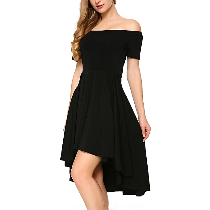 a34fa5bba6 Generic Women Off Shoulder Short Sleeve High Low Skater Dress Black ...
