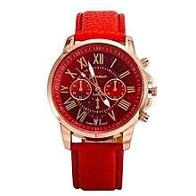Red Leather Ladies Wrist Watch