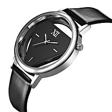 Classic Elegant Hollow Quartz Lady Watch Women Luxury Brand Gold Ladies Casual Dress Leather Strap Clock Female Girls Trending Inverted Triangle Belt Watch Wristwatch for Woman - black
