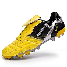 Men's Classic Big Tongue Youth Football Shoes, Rivet Reinforcement AG Nails, Short Nail Bottom-Yellow
